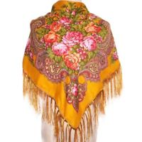 AUTHENTIQUE Foulard Châle Russe en coton  couleur Moutarde