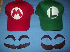 """Super MARIO & LUIGI Costume Hats w/ Letters """"M"""" & """"L"""" Emblems & Handmade Face Pc"""