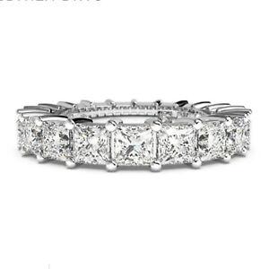 Princess Cut 1.80 Ct Diamond 950 Platinum Wedding Women's Eternity Band Size M N