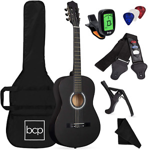 Best Choice Products Beginner All Wood Acoustic Guitar Starter Kit in Black
