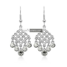 18K White GP w SWAROVSKI ELEMENTS CRYSTALS Shining Bridal Wedding Earrings E009