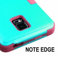 For Samsung Galaxy Note Edge - HARD&SOFT RUBBER HYBRID ARMOR SKIN CASE TEAL PINK
