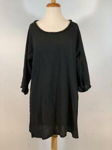 "OH MY GAUZE ""RUFFLE TRIM BLOUSE"" 100% Cotton 3/4 Sleeves Split Hem Black Size 2"