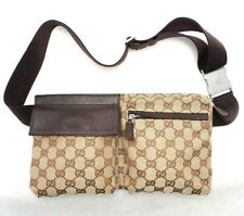 GUCCI waist bag belt purse bum leather fanny pack beige brown GG monogram 28566
