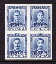 NEW ZEALAND 1938-44 3d BLUE IMPERF PLATE PROOF BLOCK SG 609 MNH.