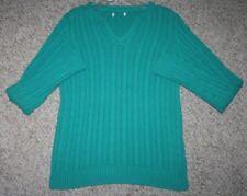 Old Navy Green Sweater Medium V-Neck Women's Corded Winter Long Sleeve Top Woman