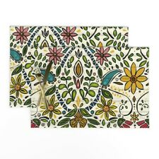 Cloth Placemats Floral Graphic Flower Leaves Colorful Morocco Flowers Set of 2