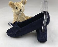 Minnetonka Navy Blue Leather suede Driving Loafer Moccasin Sz/8