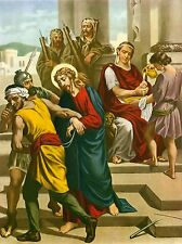 "14 Catholic STATIONS OF THE CROSS Pictures Prints LENT 9x12"" VIA CRUCIS Italy"