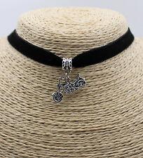 Punk Motorcycle Shape Retro Silver Tone Pendant  Fashion Lady String Necklace#01