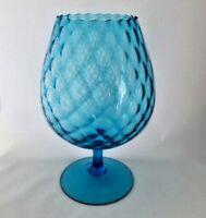 "MCM 12.5"" Diamond Optic Blue Empoli Glass Pedestal Snifter Vase Large BEAUTIFUL!"