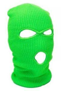 Neon Green Ski Mask 3 Hole Balaclava Hood Full Face Winter Cap Adult Beanie Hat
