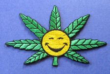 BRAND NEW MARIJUANA LEAF WITH SMILEY HAPPY FACE BIKER IRON ON PATCH