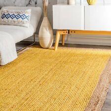 Handmade Braided Yellow Colorful Jute Area Rug Floor Decor Beautiful carpet