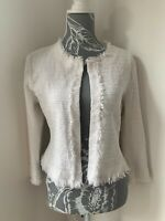 Riani White Jacket Size 12 Cropped Fringe-Trimmed Collarless Edge to Edge Jacket