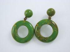 Vintage Bakelite Marbled End of Days Green Yellow Brown Earrings