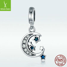 925 Sterling Silver Charm Bead New Moon With Blue Star Dangle Pendant Fit Chain