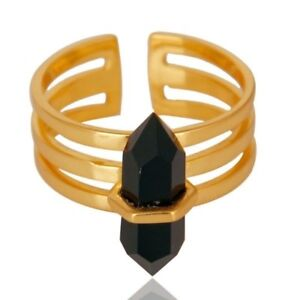 Wide Horn Adjustable Black Onyx Ring 925 Sterling Silver 14K Gold Plated