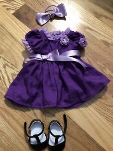 American Girl Doll Emily's Holiday Outfit Purple Dress