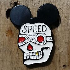 Speed Skull Enamel Lapel Pin Mickey Mouse Gold Tooth Tattoo Retro Vintage