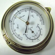 "Victory BA612 Brass 4"" Barometer Thermometer ""Yacht"" Dual Scale 135-958"