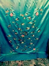 Antique Chines Splendid Silk Hand Embroidered Wedding Sheet Piano Shawl Tapestry