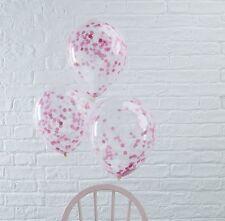 Luftballons transparent mit rosa Konfetti gefüllt - 10 Stück