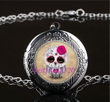 Sugar Skull Owl Photo Glass Gun Black Chain Locket Pendant Necklace