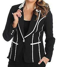 NEW WD.NY Woven Fully Lined Contrast Trim One-Button Jacket / Blazer - SZ M