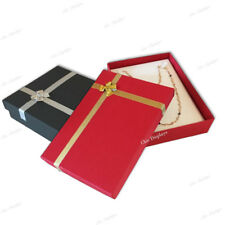 "2- GIFT BOX BLACK NECKLACE DISPLAY JEWELRY GIFT BOX LARGE RED NECKLACE BOX 1.5""H"