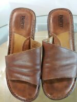 Born Shoes Women's Brown Leather Low Wedge Slip On Sandals Size 9 / 40.5