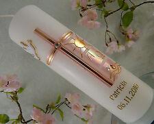 Taufkerze Kommunionkerze Kreuz rosa gold mit Taube schlicht Mädchen 250/70 mm