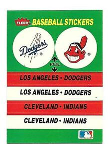 1989 LOS ANGELES DODGERS-CLEVELAND INDIANS FLEER BASEBALL CARD STICKER NM COND!
