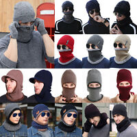 Men Women Winter Warm Knit Baggy Beanie Wool Skull Hat Ski Cap Scarf Thermal Set