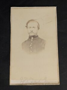 Antique Cabinet Photo - Civil War Soldier Charles W. Kendall of Massachusetts
