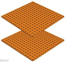 2 Lego BASEPLATES 16 x 16  Studs  (orange,floor,platform,building,story,plate)