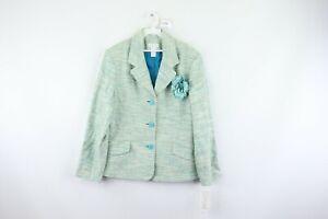 New Norton & Co Womens 16 Abstract 3 Button Linen Blend Blazer Jacket Green