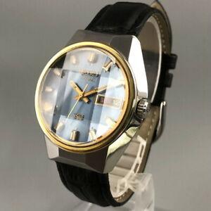 Vintage 1973 King SEIKO VANAC 5626-7190 Cut Glass Blue Dial Men's Watch #472