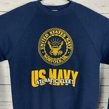 US Navy Mens Medium Vintage 90 Pullover Sweatshirt Atlantic Fleet Crew Neck Blue