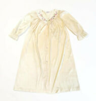 Vintage Vanity Fair Peignoir Nightgown Negligee Button Front Lace Nylon Ivory S