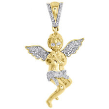 "Trumpet Pendant 1.70"" Charm 0.30 Ct. 10K Yellow Gold Diamond Seven Angel Blowing"