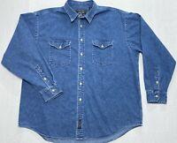 American Eagle Durable Goods Long Sleeve Button Up Blue Jean Denim Shirt Mens XL