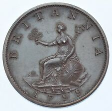 More details for rare 1799 bronzed proof halfpenny, british coin from george iii afdc