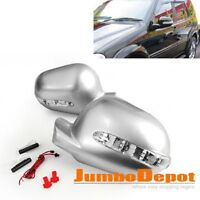 Fit 97-01 MERCEDES W163 ML320 Silver Side Door Mirror Casing Cover w/LED Blinker