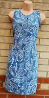 NEXT BLUE LINEN WHITE PAISLEY FLORAL V NECK SLEEVELESS SHIFT TUNIC SLIP DRESS 10