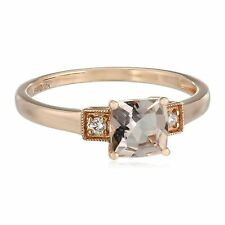 Natural Morganite Ring with Diamonds in 10K Rose Gold