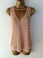 River Island Top UK Size 8 Peach Tank Top Bead Jewel Embroidery Womens Summer