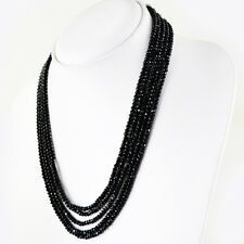 AAA 179.50 CTS NATURAL 5 STRAND RICH BLACK SPINEL ROUND FACETED BEADS NECKLACE
