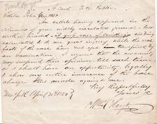 1850 AUTOGRAPH LETTER by Anti-Catholic REV. WILLIAM K. HOYT - Maria Monk HOAX