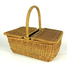 Small Picnic Basket Brown Lidded Wicker Country Farmhouse Gathering Storage Vtg